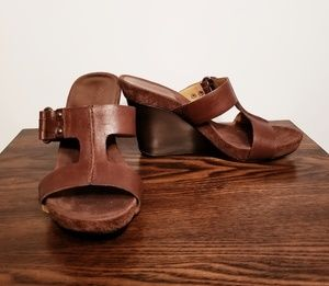 Nine West Brown Leather Wedge Shoes Sz 9